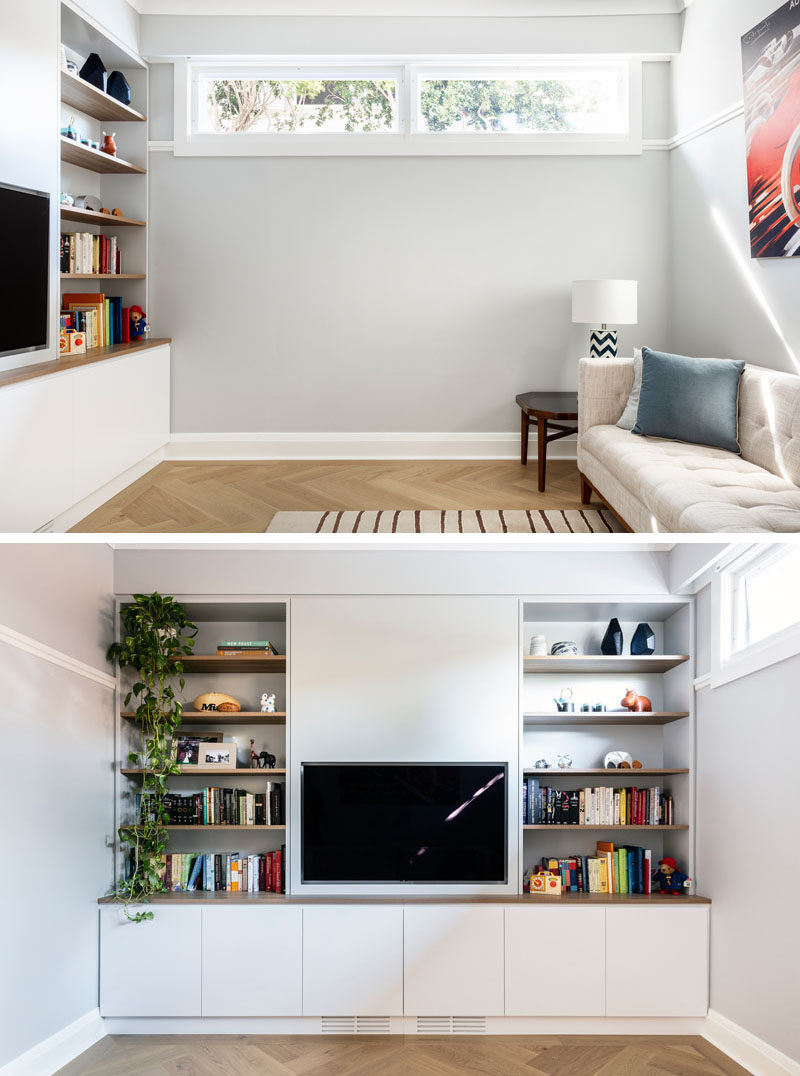 Interior Design Ideas - This modern library currently serves as a TV and playroom, that can transform into a media and reading room as children grow and mature. #Playroom #HomeLibrary #MediaRoom #Shelving #CustomCabinets