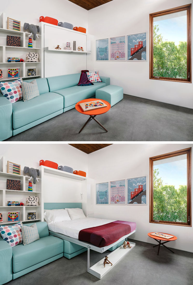 Bedroom Ideas - In this modern bedroom, a murphy bed disguised as shelving, folds down over the couch, transforming into regular bed. #BedroomIdeas #ModernBedroom #HiddenBed #MurphyBed