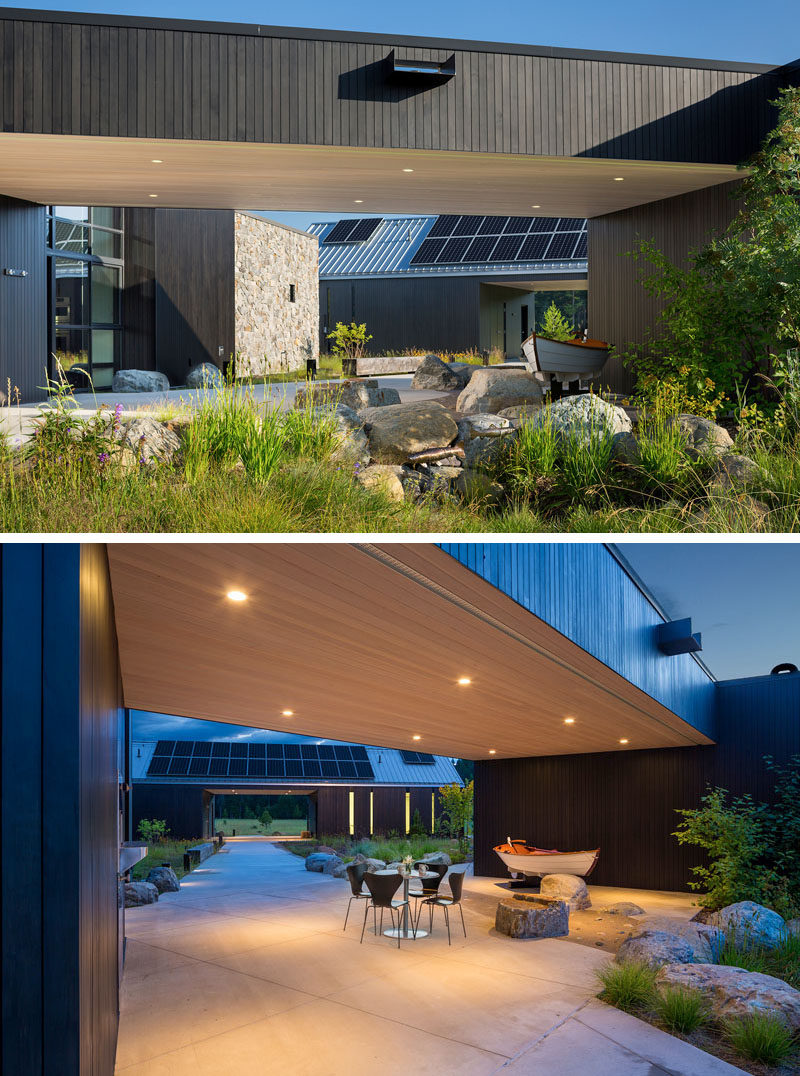 Architecture Ideas - This modern house is composed of three structures in a loose triangular form, with a main house, guest house, and utility structure. #ModernHouse #ModernArchitecture #HouseDesign