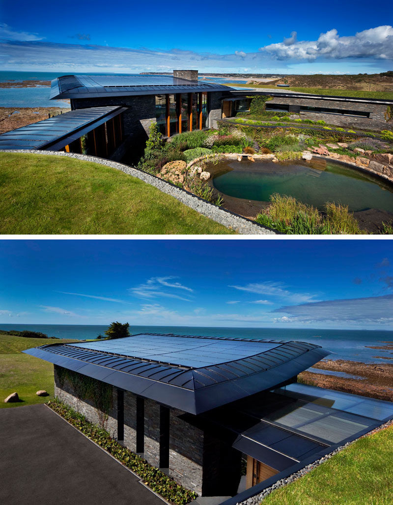 This modern house blend into the surrounding landscape, and makes use of integrated solar panels and air source heat pumps to provide low energy heating. There's also a natural swimming pool. #NaturalSwimmingPool #SolarPanels
