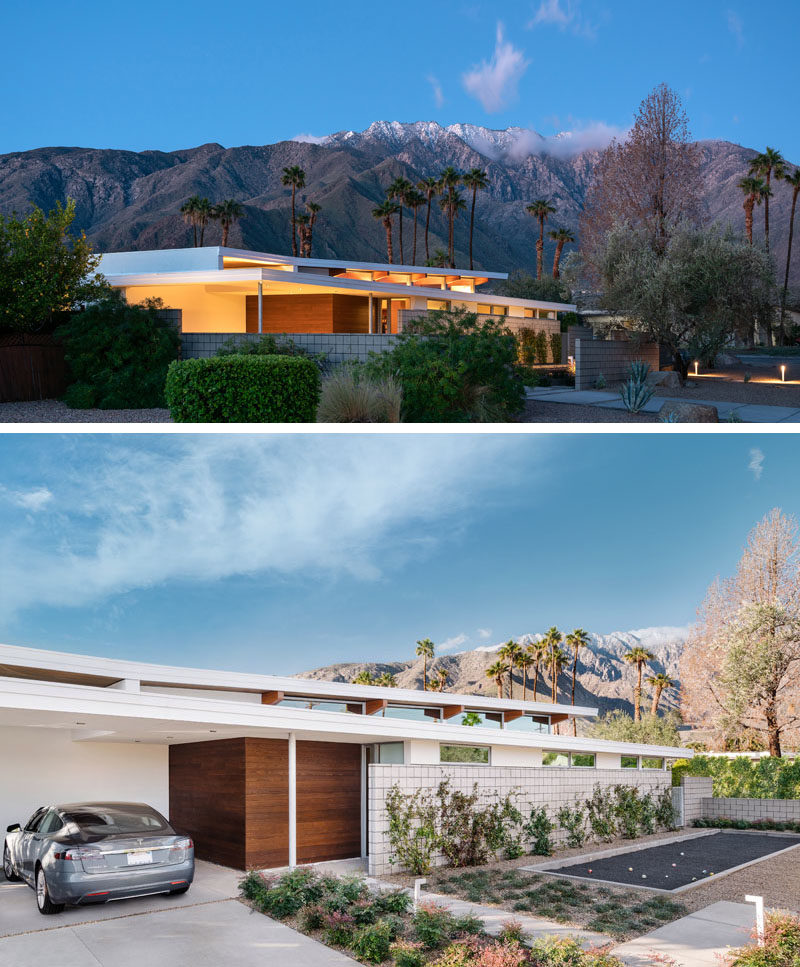 Architecture Ideas - At the front of this mid-century modern inspired house, is a small entertaining area with a bocce court surrounding by landscaping, and a open carport. #ArchitectureIdeas #ModernHouse #HouseDesign