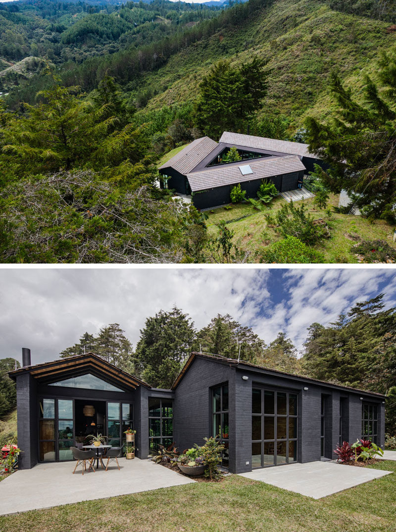Architecture firm Estudio Transversal, has designed a modern black and triangular house in El Retiro, a town in Colombia. #TriangleHouse #ModernHouse #BlackHouse