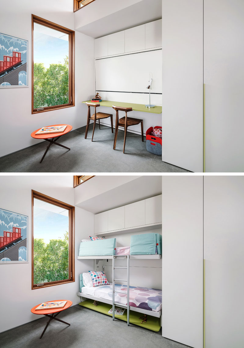 Bedroom Ideas - In this modern bedroom, the desk area transforms into bunk beds, with a ladder connecting the two. #BunkBeds #HiddenBunkBeds #MurphyBunkBeds #BedroomIdeas
