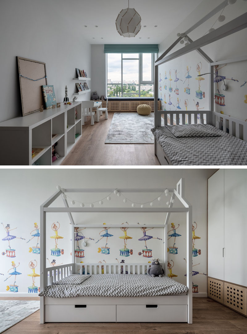 Bedroom Ideas - In this modern children's bedroom, cartoony ballerinas cover one of the walls, while a built-in window bench allows for daydreaming. #KidsBedroom #BedroomDesign #BedroomIdeas #ChildrensBedroom #GirlsBedroom