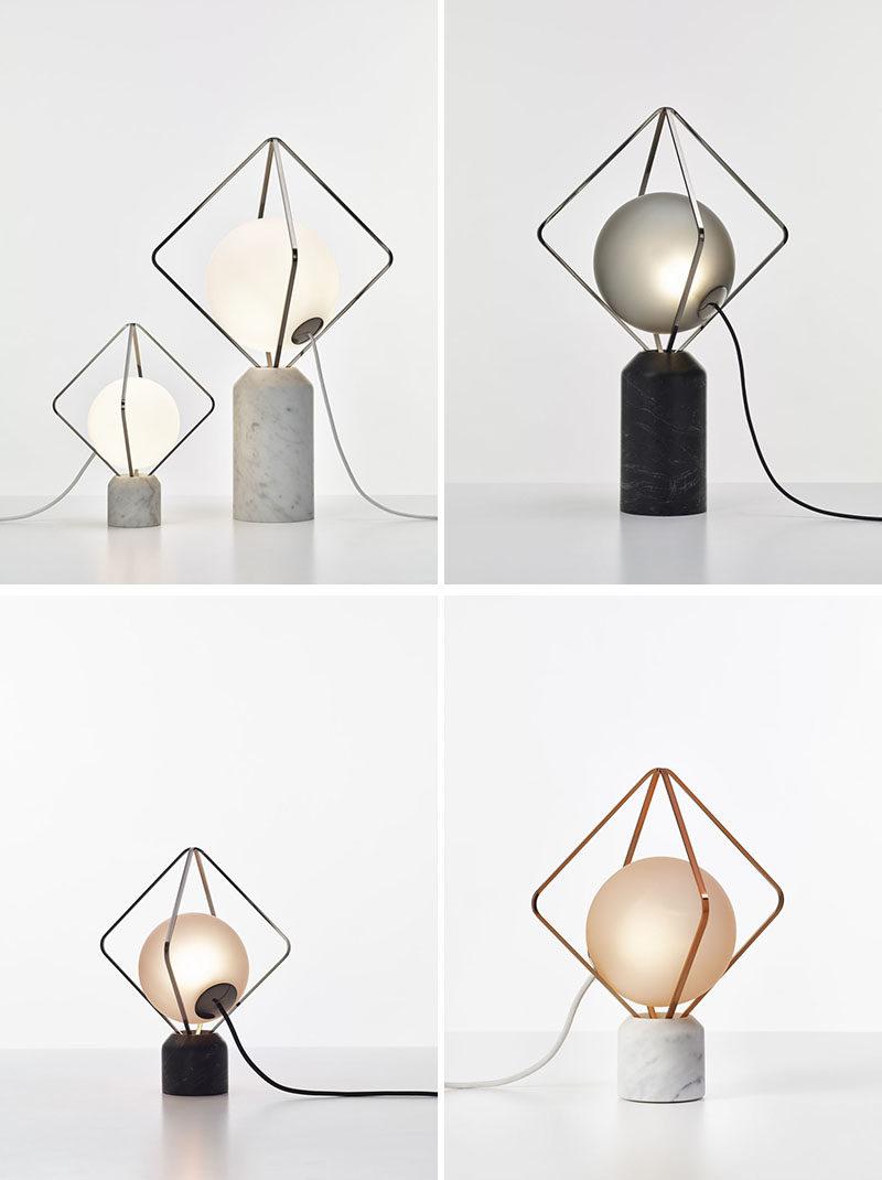 Lucie Koldova has designed the Jack o'Lantern lighting collection, that has subtle metal frames that hold a luminous pearl in the form of a handblown matte glass sphere. #Lighting #ModernLighting #LightingIdeas #TableLamp #FloorLamp