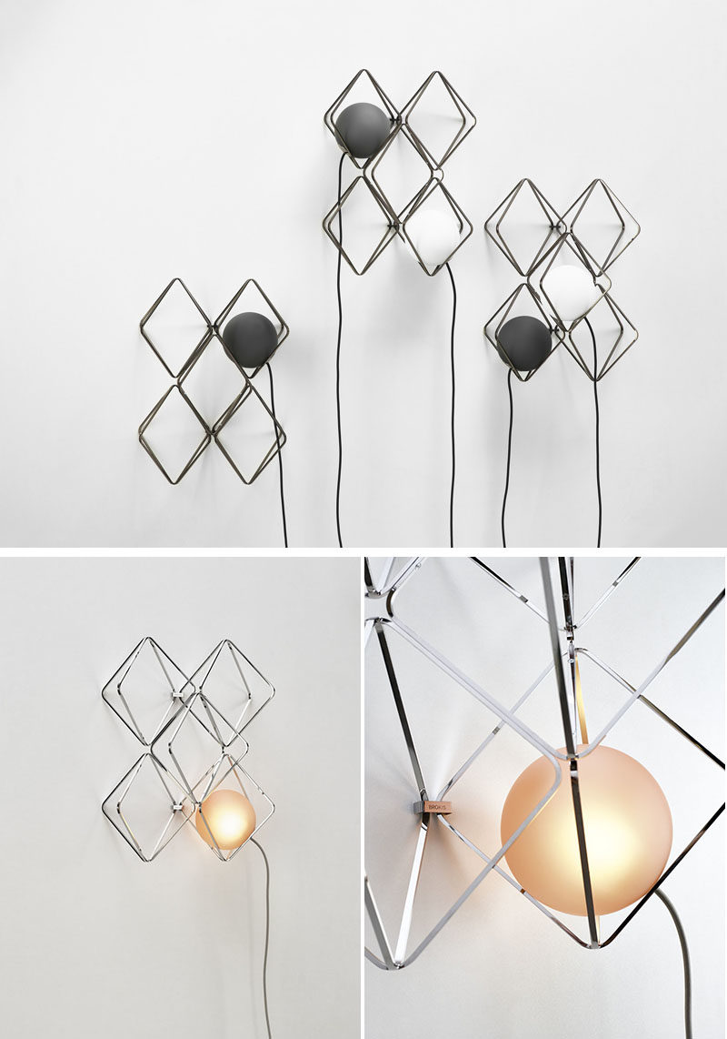 Lucie Koldova has designed the Jack o'Lantern lighting collection, that has subtle metal frames that hold a luminous pearl in the form of a handblown matte glass sphere. #Lighting #ModernLighting #LightingIdeas #WallLight