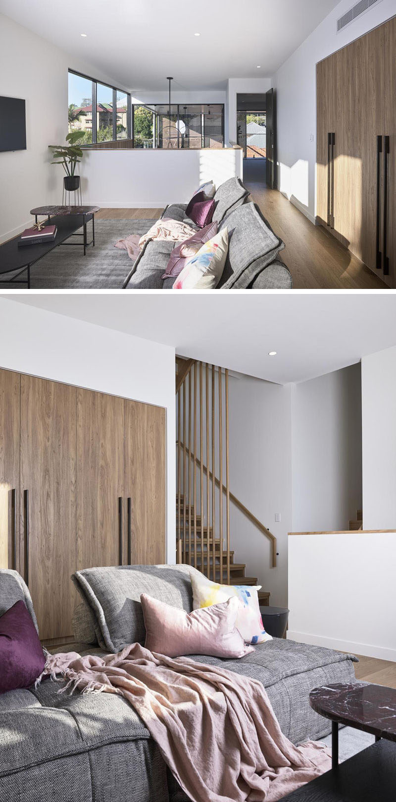 Living Room Ideas - This modern living room combines grey and wood with touches of color. #ModernLivingRoom #LivingRoomIdeas