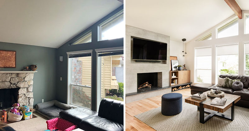 Before After Living Room Renovation With A Recessed Tv Above A Fireplace