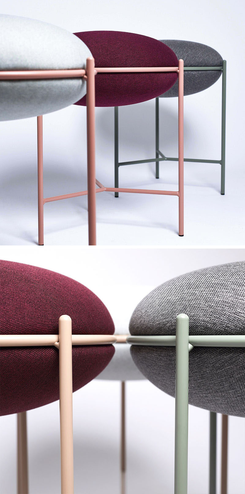 The NEA stool made from thin metal and a curved cushion, offers a modern seating option with a subtle pop of colour. #Stool #ModernStool #ModernFurniture #MinimalistFurniture