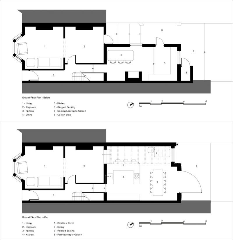 FLOOR PLANS - Before & After - British architecture studio CAN, have designed a modern rear side extension to open the back of this Victorian terrace house to it's garden. #Renovation #RearExtension #HouseExtension #ModernHouseExtension #Architecture