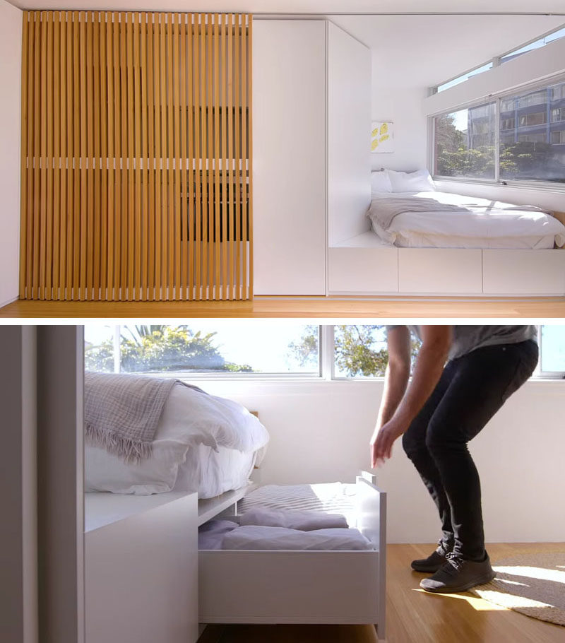 Small Apartment Ideas - Smart design decisions were made throughout the interior of this small apartment, like including drawers underneath the bed, adding usable space in the small interior. #StorageIdeas #MicroApartment