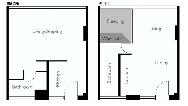 Small Apartment Ideas - Architect Brad Swartz, has designed a 258 square foot (24sqm) micro apartment in Sydney, Australia. #MicroApartment #SmallApartment #ApartmentDesign #SmallLiving #TinyLiving