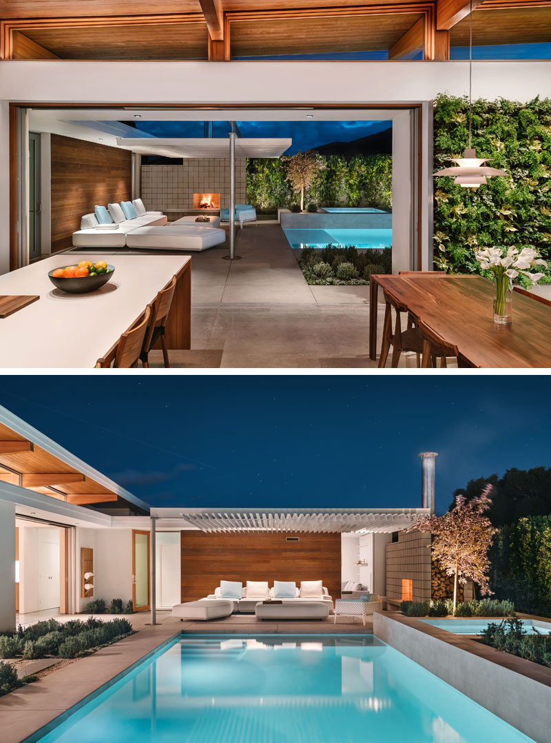 This mid-century modern inspired house has lift-and-slide doors that open to a covered patio and swimming pool. #OutdoorSpace #SwimmingPool #CoveredPatio