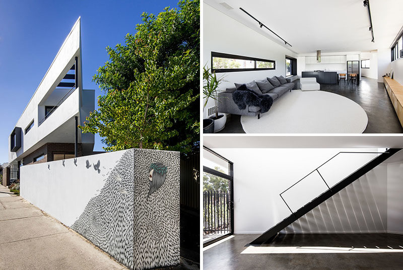 Robeson Architects has designed a modern house that sits on a triangular lot in Perth, Australia. #ModernHouse #ModernArchitecture #HouseDesign