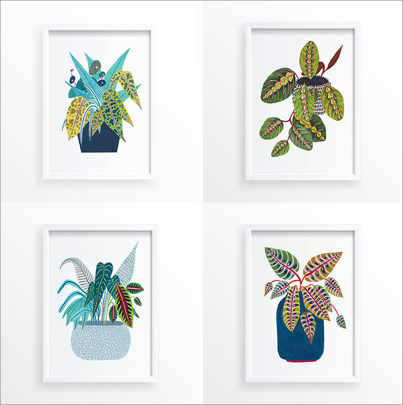 Wall Art Ideas - This collection of botanical art prints includes a variety potted plants, that add a subtle pop of color. #BotanicalWallArt #PlantWallArt #WallArtIdea #PlantArt #HomeDecor #WallDecor