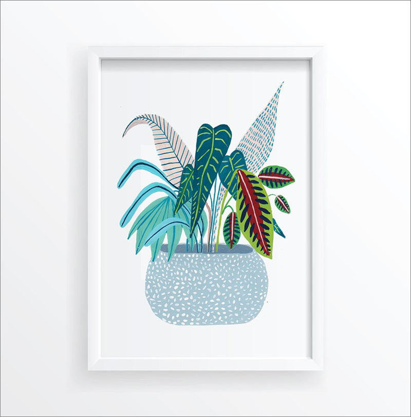 Wall Art Ideas - This botanical art print includes a simple potted plant that adds a subtle pop of color to your wall. #BotanicalWallArt #PlantWallArt #WallArtIdea #PlantArt #HomeDecor #WallDecor