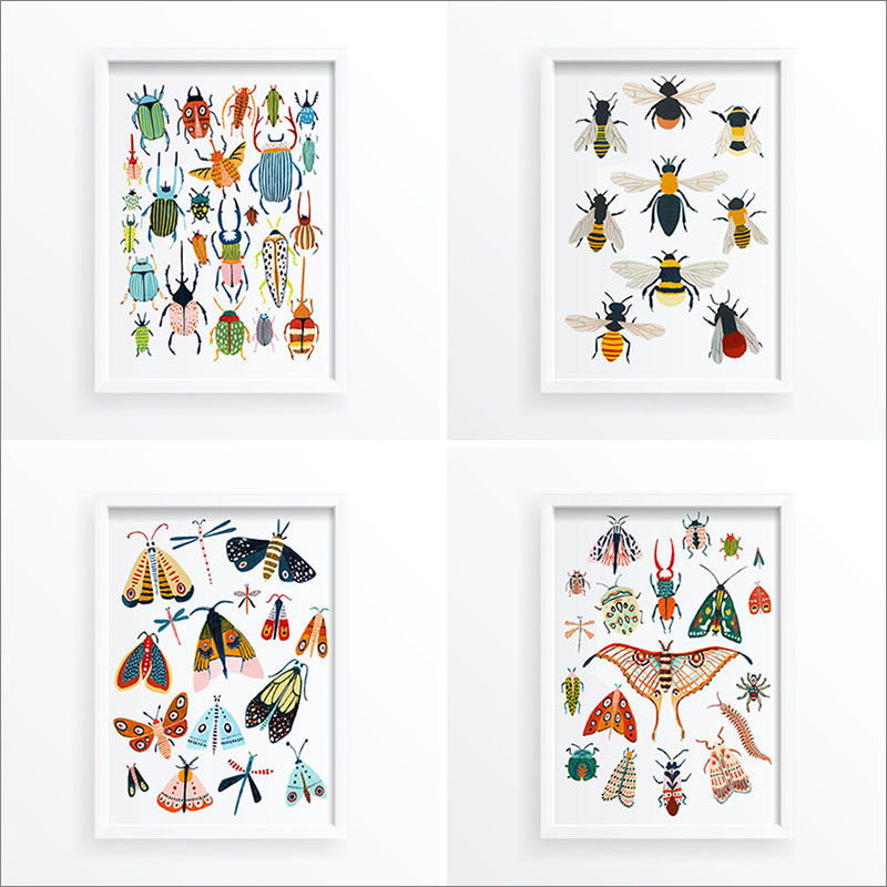 Wall Art Idea - This series of bug art prints by Amber Davenport, includes illustrations of beetles, moths, butterflies, and bees. #BugArtPrint #BugPrint #InsectPrint #BeeWallArt #ModernWallArt #WallDecor #ArtPrints
