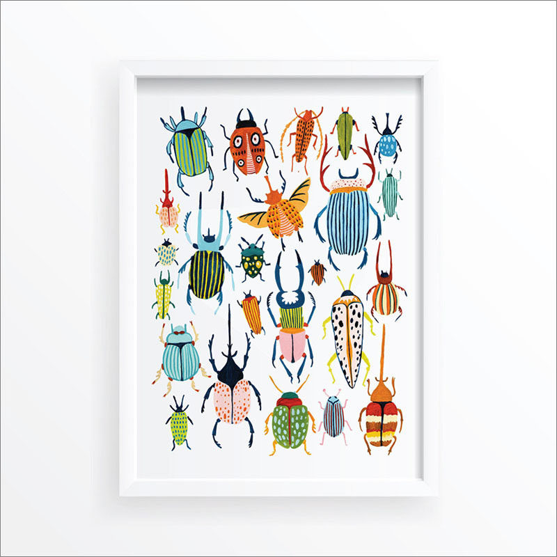Wall Art Idea - This modern bug print includes a variety of colorful beetles. #WallArt #Beetles #BugPrint #ArtPrint #WallDecor