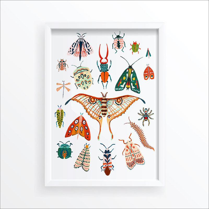 Wall Art Print - This bug art print includes illustrations of beetles, moths, butterflies, and insects. #ModernArtPrint #WallArtPrint #BeetleArt #MothArt #BugArt