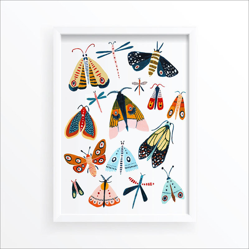 Wall Art Idea - This modern bug print includes a variety of colorful butterflies and moths. #WallArt #MothPrint #ButterflyPrint #ArtPrint #WallDecor
