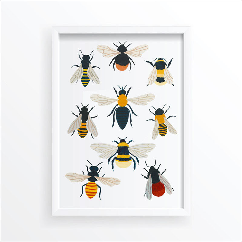Wall Art Idea - This modern bug print includes a variety of colorful bees. #WallArt #Bees #BeeArt #BeePrint #ArtPrint #WallDecor