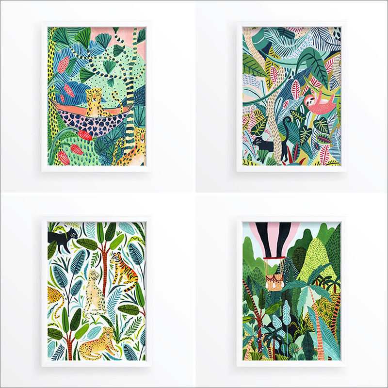 Wall Art Idea - This collection of modern jungle prints include include sloths, leopards, hot air balloons, cheetahs, and tropical plants. #WallArt #WallPrints #JungleArt #JunglePrints #Sloths #WallDecor #Prints #Decor