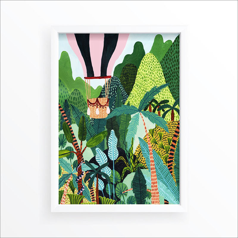 Wall Art Idea - This modern jungle print includes a hot air balloon flying above tropical plants. #WallArt #WallPrints #JungleArt #JunglePrints #HotAirBalloon #WallDecor #Prints #Decor