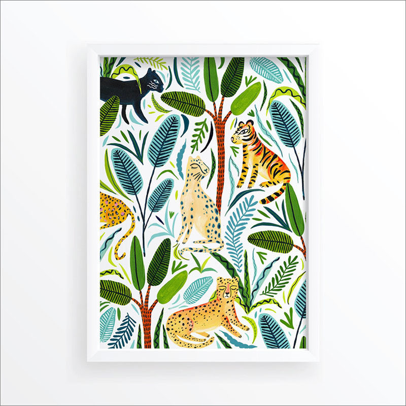 Wall Art Idea - This modern jungle print includes a jungle cats and tropical plants. #WallArt #WallPrints #JungleArt #JunglePrints #JungleCats #WallDecor #Prints #Decor