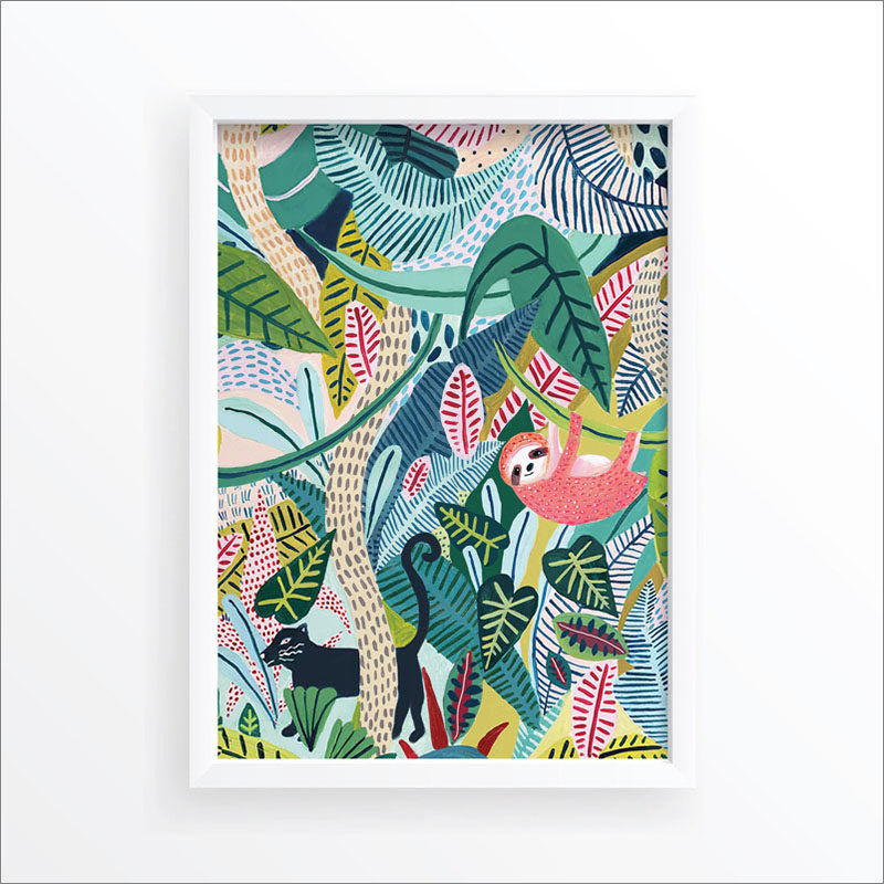 Wall Art Idea - This modern jungle print includes a sloth, jaguar, and tropical plants. #WallArt #WallPrints #JungleArt #JunglePrints #Sloth #Jaguar #WallDecor #Prints #Decor