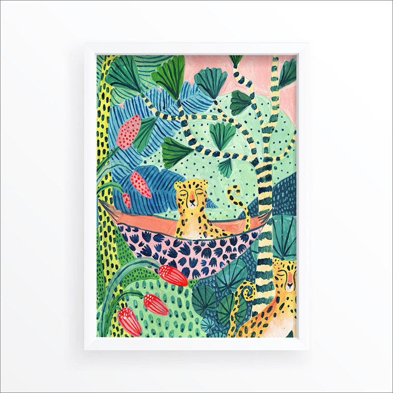 Wall Art Idea - This modern jungle print includes a leopard and tropical plants. #WallArt #WallPrints #JungleArt #JunglePrints #leopard #WallDecor #Prints #Decor