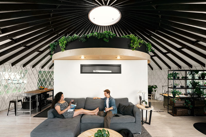 Zach Both and Nicole Lopez of Do It Yurtself, have designed and built a modern yurt for themselves as a DIY project, that's located just outside Portland, Oregon. #ModernYurt #Yurt #Architecture #SmallHouse #SmallLiving