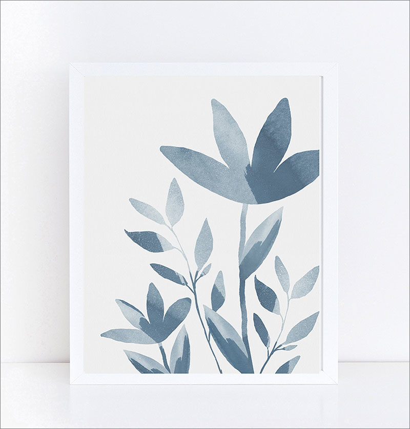 Wall Art Ideas - Basia Stryjecka of LittleValleyStudio, has designed a set of two monochromatic and modern floral art prints, that showcase various shades of blue. #ModernWallArt #WallArtIdeas #Art #WallArt #ArtPrint #FlowerArt #FloralArt