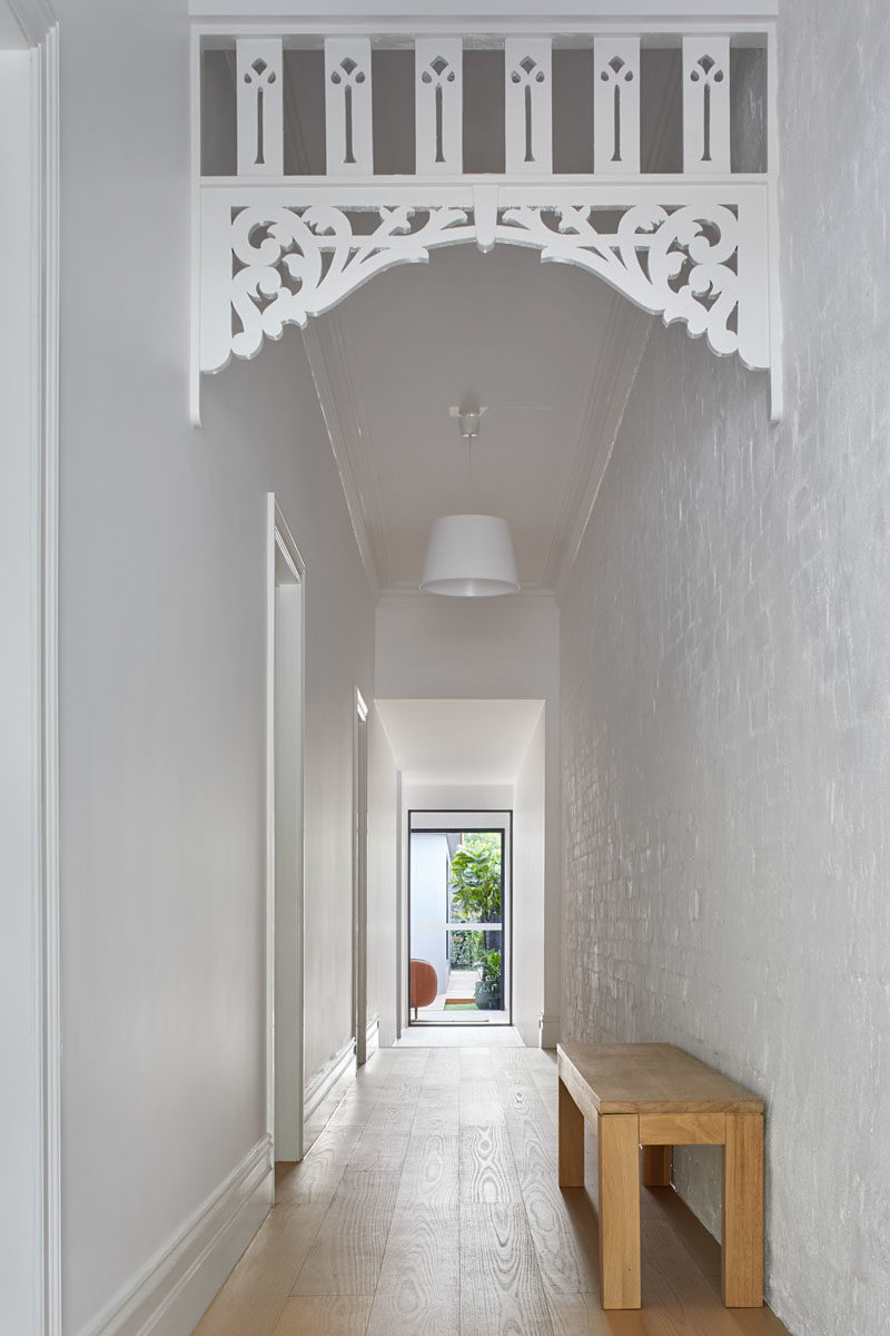 Stepping inside this home, the while hallway, with some original features, leads from the front of the house to the rear, where the extension is located. #Hallway #InteriorDesign