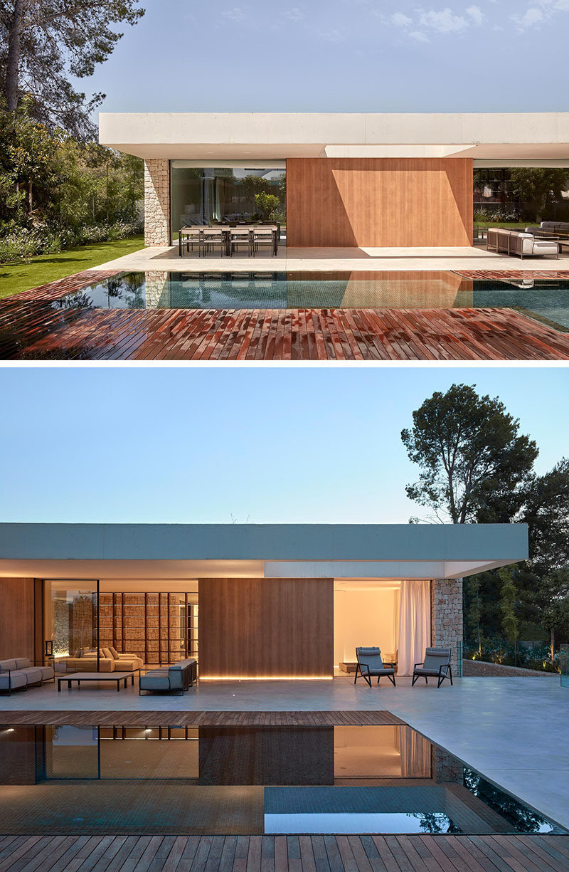 Exterior Lighting Ideas - By including strips of hidden lighting at the base of the exterior wood walls, the architect was able to highlight the wood accents, and create a soft glow that can be enjoyed at nighttime when entertaining by the pool. #ExteriorLighting #OutdoorLightingIdeas #Landscaping
