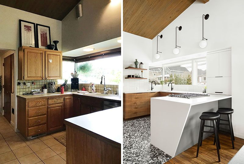 Dyer Studio Inc. has completed the modern renovation of a kitchen that was dated and too dark for the family that lives in the house. #KitchenRenovation #KitchenRemodel #ModernKitchen #KitchenDesign