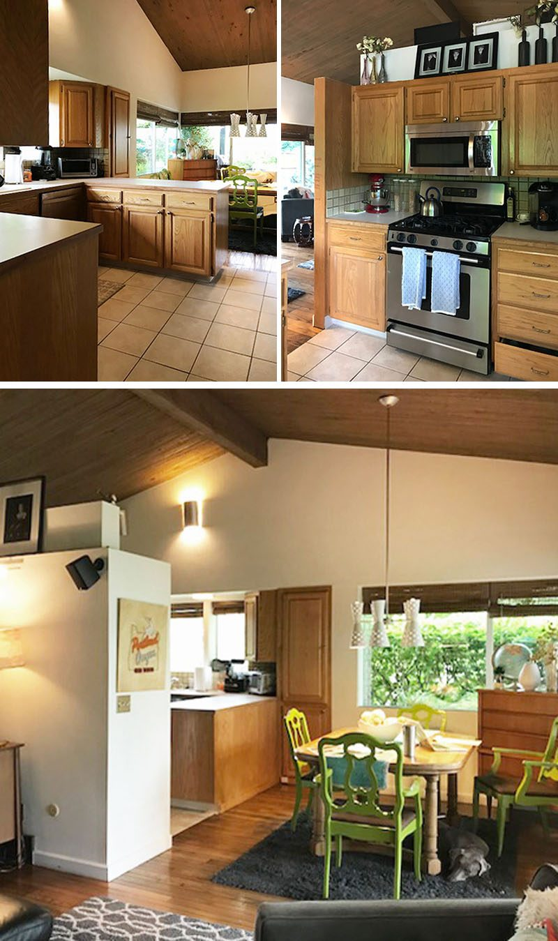 This 'before' kitchen had a u-shaped layout with a wood cabinets that separated the kitchen from the living room. Click through to the see remodeled kitchen with bright white countertops, warm modern wood cabinets, and a dining area with banquette seating.
