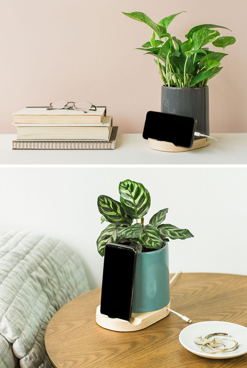 Gift Ideas - These modern phone and tablet charging docks are made from earthenware clay, and also double as vase, planter, or a holder to store your cooking utensils. #PhoneDock #TabletDock #HomeDecorIdeas #DecorIdeas #GiftIdeas #ChargingDock