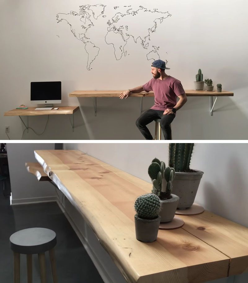 DIY Ideas - Create your own modern DIY live edge desk and bar using slabs of wood, sandpaper, finishing materials, shelf brackets, and a few tools. #DIYProject #HomeOffice #LiveEdgeDesk #LiveEdge #LiveEdgeBar #HomeBar #WoodDesk