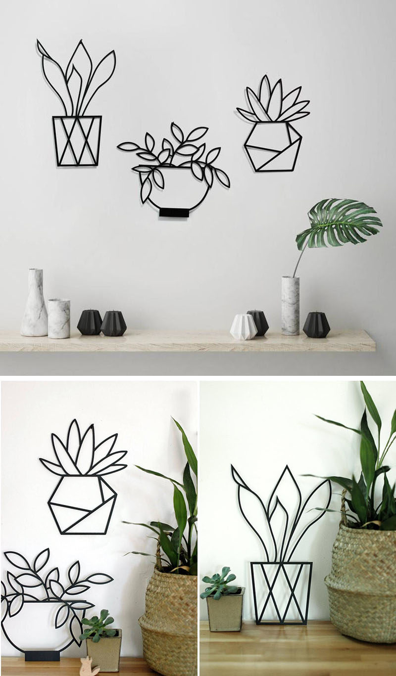 Wall Art Ideas - Glyphs Studio have created a collection of modern wall art that depict a variety of plants, and are made from laser cut metal with a matte black finish. #WallArtIdeas #ModernWallDecor #WallArt #WallDecor #MinimalistArt #MetalWallArt #DecorIdeas