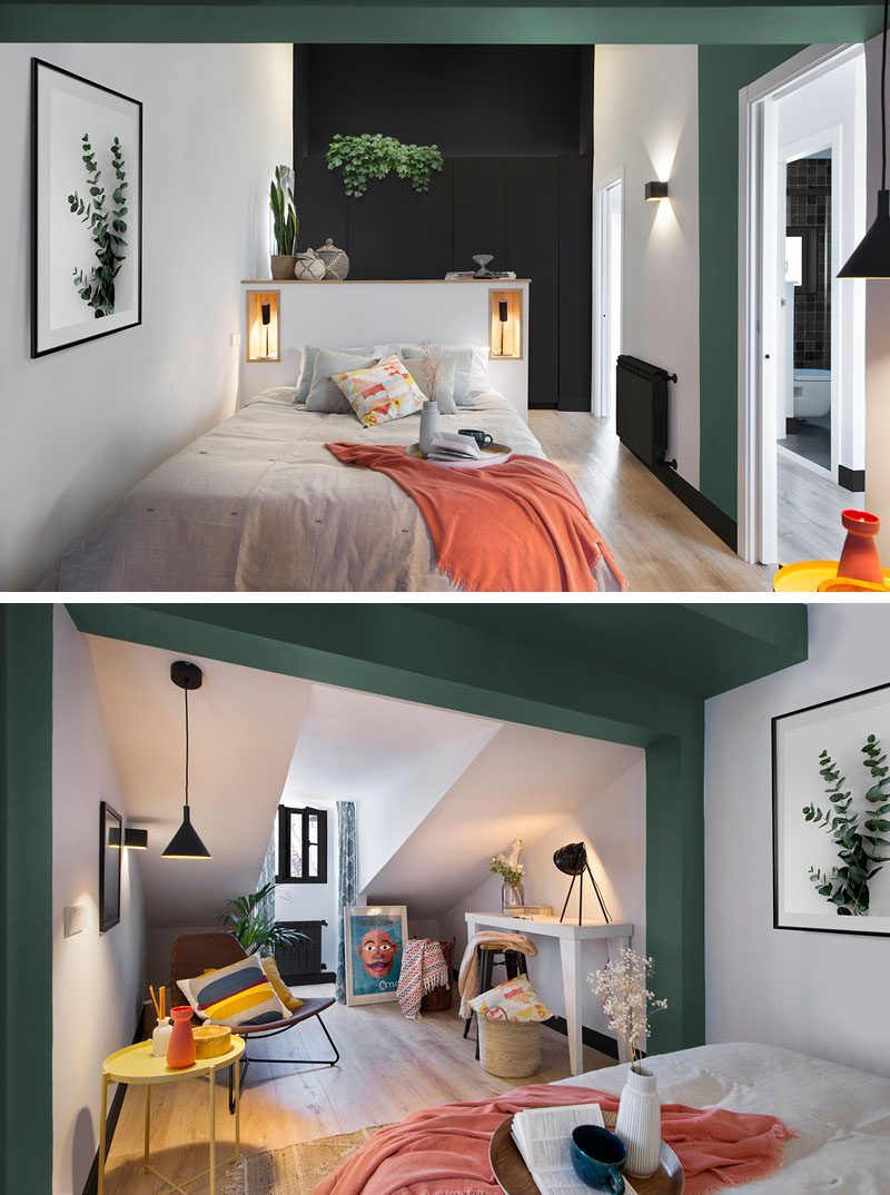 In this modern bedroom, a small half wall with niches acts as a headboard for the bed, while at the other end of the bed, the room opens up to a sitting area with a desk. #ModernBedroom #BedroomDesign #SittingArea
