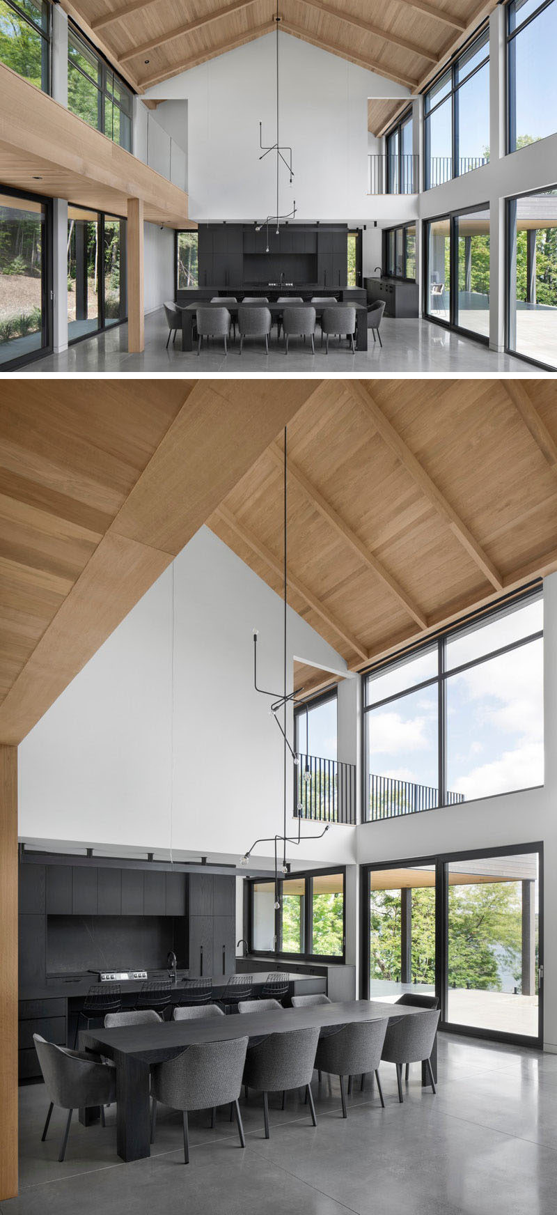 Modern Barnhouse Ideas - This modern barnhouse has a open-plan great room great room, where the grey furniture and dark kitchen complement the polished concrete floors, but at the same time contrast the bright interior. #ModernBarnhouse #ModernArchitecture #DarkKitchen #HighCeilings