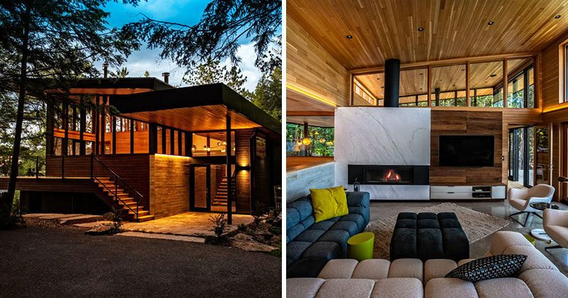 Altius Architecture has recently completed the 'Walkes Bay Cottage', a modern home that faces Chandos Lake in Canada. #ModernCottage #ModernHouse #ModernHome #WoodInterior
