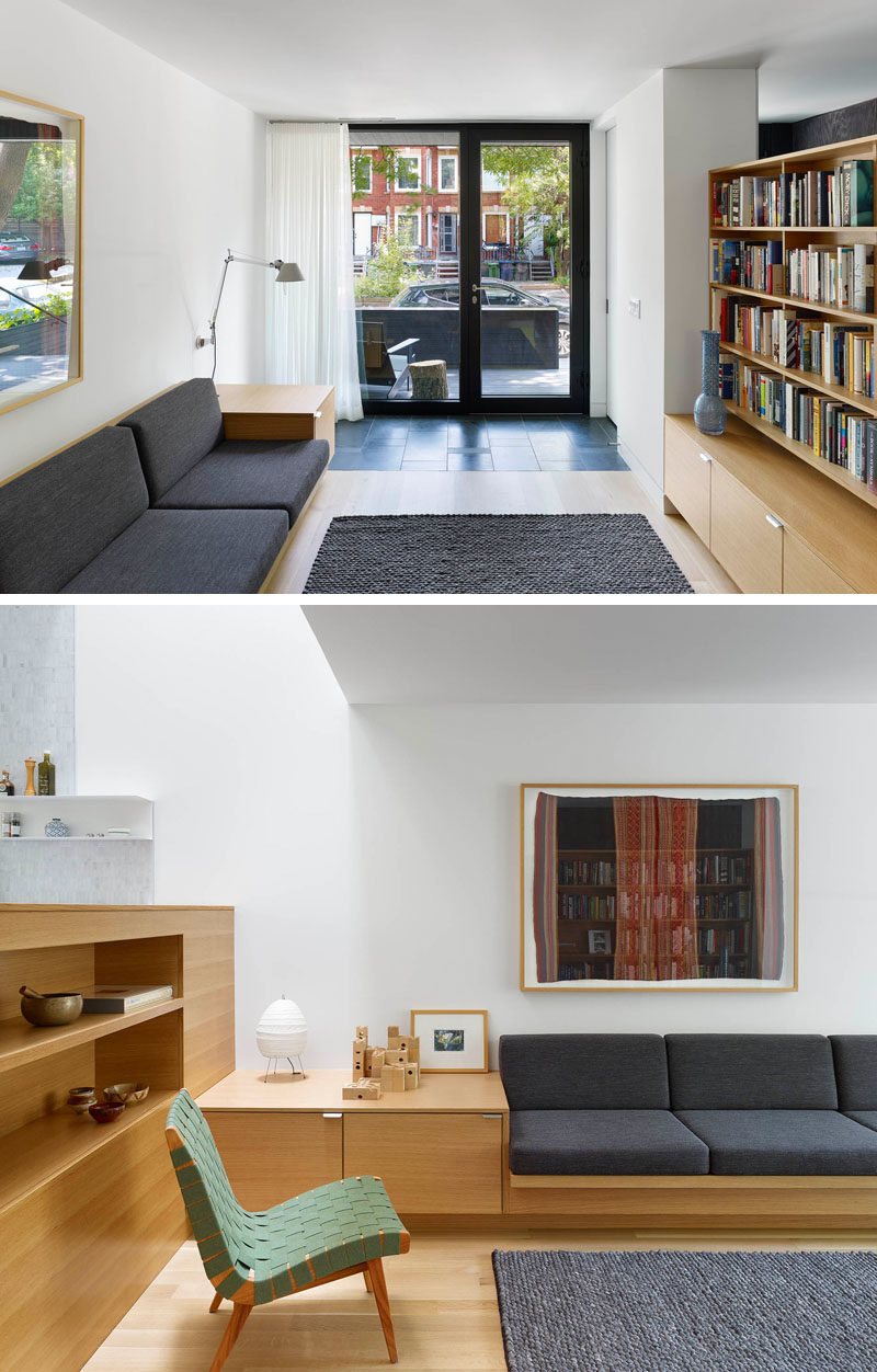Home Library Ideas - This modern library area features built-in seating and a floating bookcase. #HomeLibraryIdeas #LibraryIdeas #Shelving #BuiltInFurniture