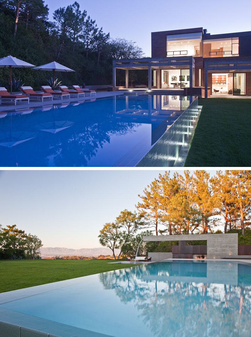 Swimming Pool Ideas - This modern house has an Olympic-sized infinity-edge pool and a Barragan inspired poured-in-place cantilevered concrete water fountain. #SwimmingPoolIdeas #Landscaping #PoolIdeas #InfinityEdgePool #Fountain