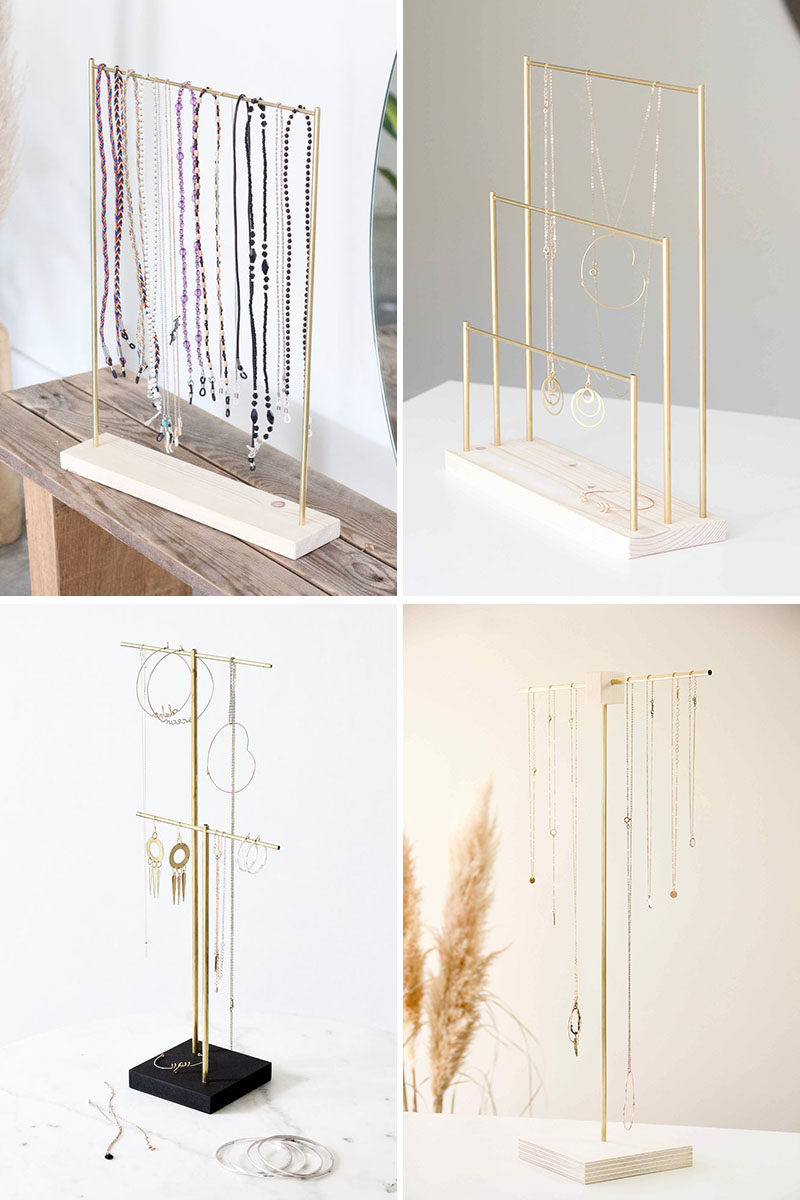 Gift Ideas - MAKK Design have created a collection of modern jewelry holders that have a minimalist appearance, and can hold earrings and necklaces. #GiftIdeas #StorageIdeas #JewelryHolder #NecklaceHolder #EarringHolder #JewelryDisplayStand #JewelryStand