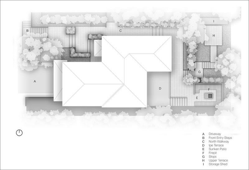 A layout for a modern landscaping design that has various seating areas.