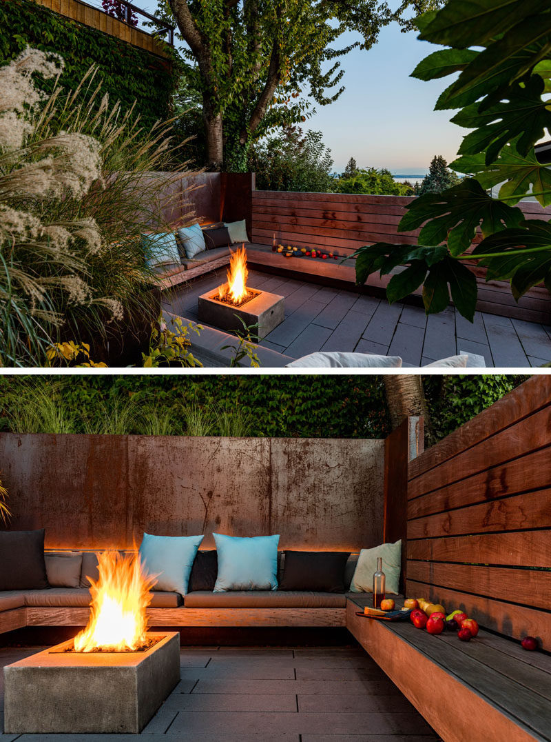 A sunken courtyard with a firepit and built-in benches.