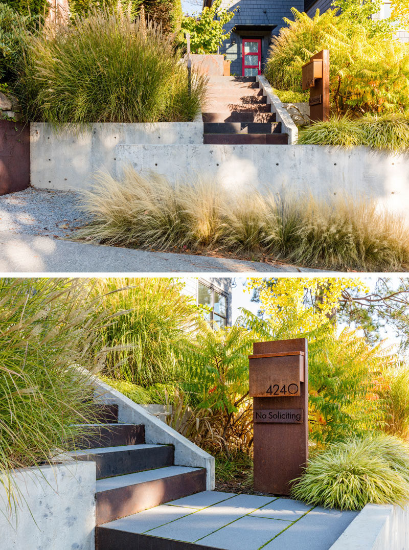 Modern curb appeal with concrete retaining walls and a steel mailbox.