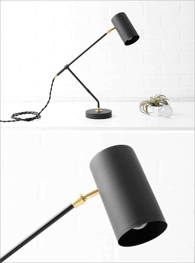 Modern Lighting Ideas - Drawing inspiration from mid-century lighting, this matte black modern lighting collection includes pendant lights, ceiling lights, and table lamps, that have direction light that can be moved like a spotlight. #LightingIdeas #ModernLighting #MatteBlackLighting #MidCenturyLighting #Spotlight #LightingDesign #DirectionalLighting