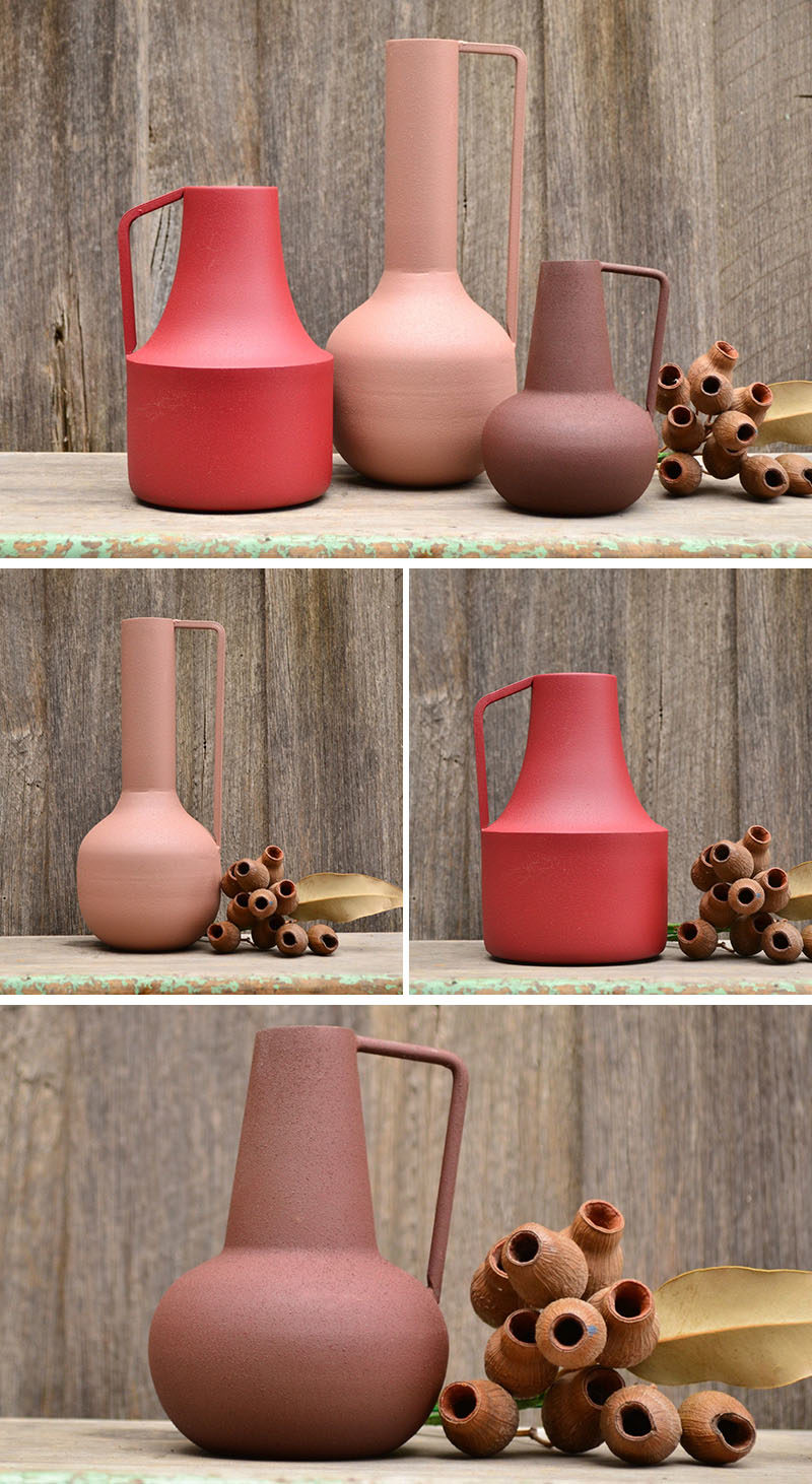 Decor Ideas - Raw Revivals has created a collection of colorful metal vases with a matte finish, that combine modern simplicity and minimalist style. #ModernVases #DecorIdeas #HomeDecor #MatteHomeDecor #ModernVases